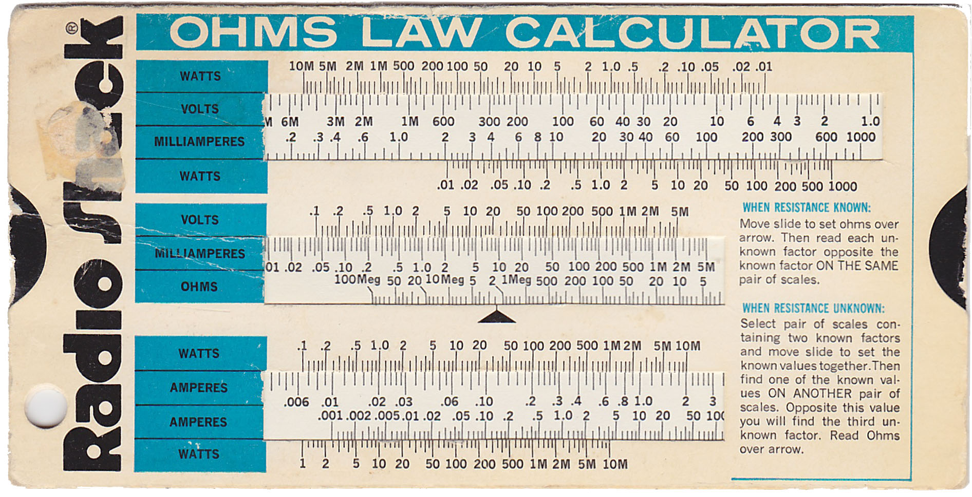 Ohms law calculator slide chart. Can you still buy them ...